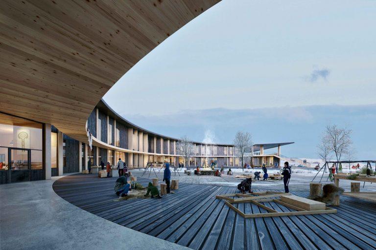 Sustinera AS leverer radonsikring til ny skole i Kautokeino i samarbeid med Peab Bjørn Bygg AS. Illustrasjon: Ola Roald Arkitektur